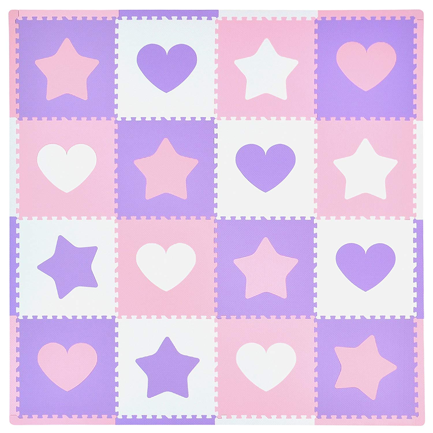 love hearts and stars pink, purple and white playmat