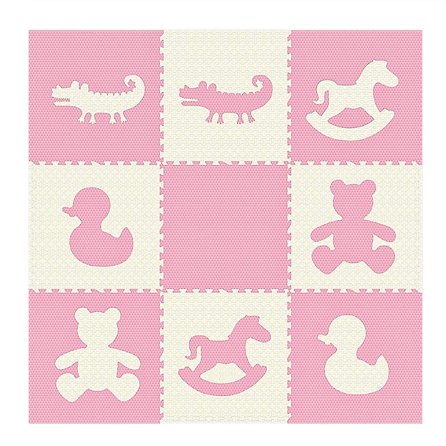 nine square pink and cream playmat with duck, teddy, rocking horse and alligator