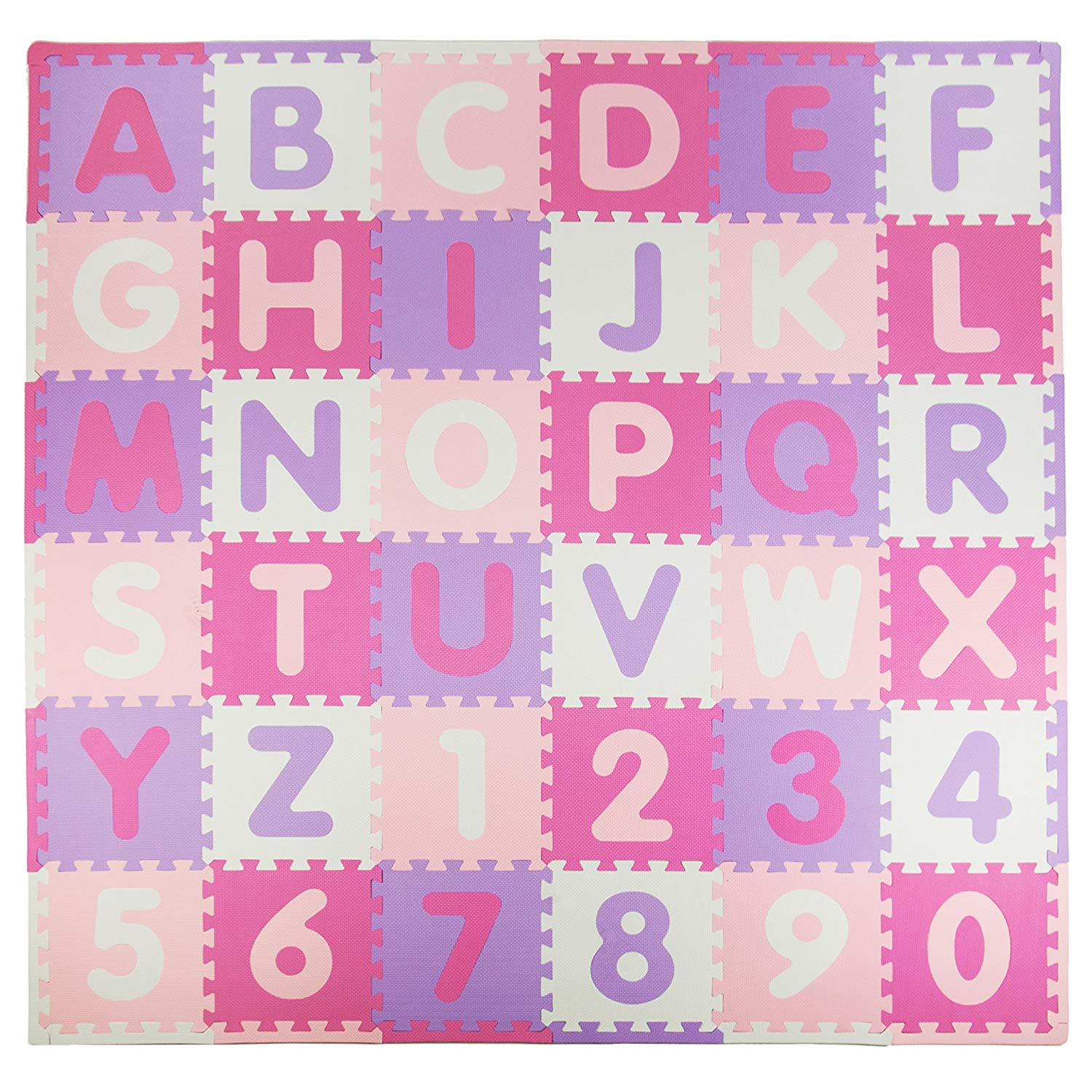 pink and purple squares, baby playmat