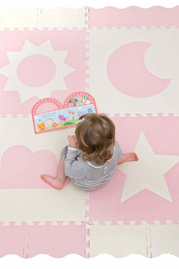 pink and cream playmat 4 tiles with sun, moon, cloud and star