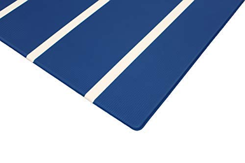 corner of a darker blue playmat with white stripes