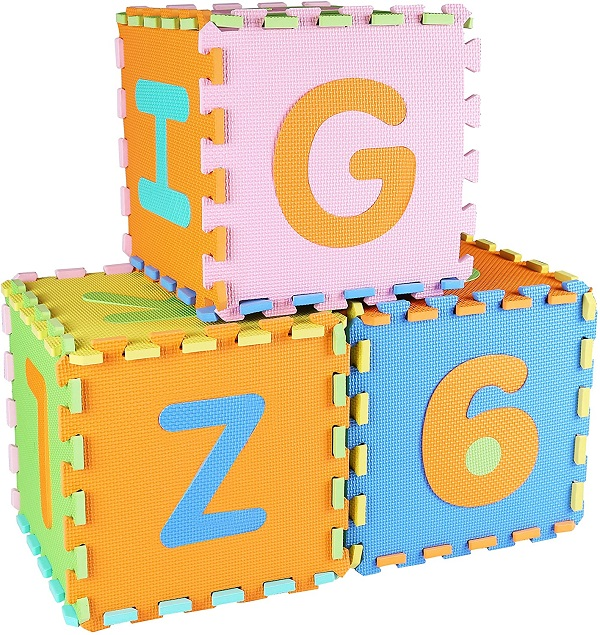 Interlocking tiles made into boxes showing letters and numbers