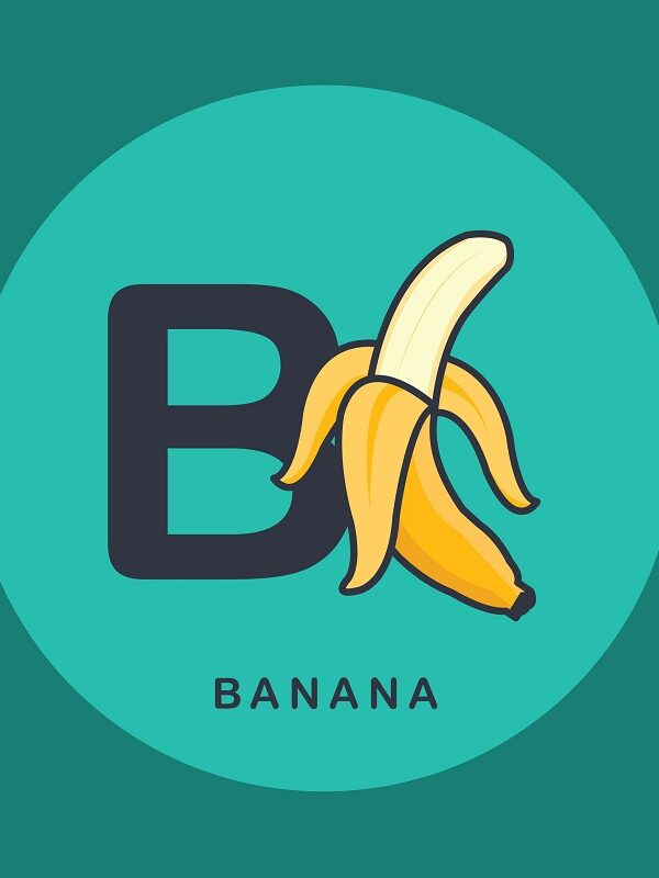 Letter B with picture of banana
