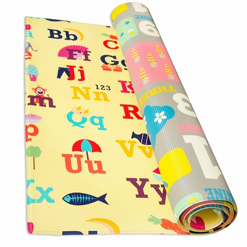 abc colorful playmat for babies rolled up
